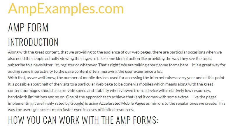 Why don't we examine AMP project and AMP-form element?
